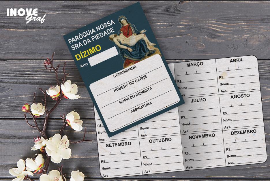 InoveGraf produz Carnê de Dízimo para Paróquia N. Sra. Piedade