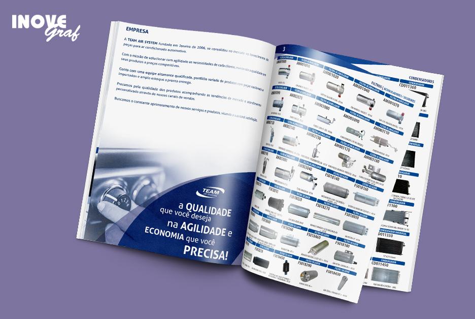 Inovegraf entrega catálogo de produtos para Team Air Systems