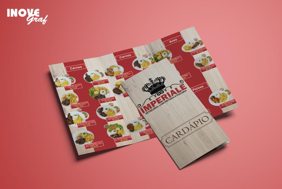 InoveGraf produz cardápio com 2 dobras para o Restaurante Imperiale